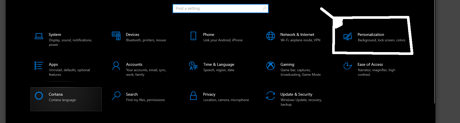 Select Personalization from the Settings Menu